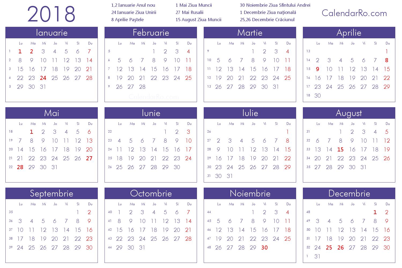 Calendar 2018 romana cu sarbatori
