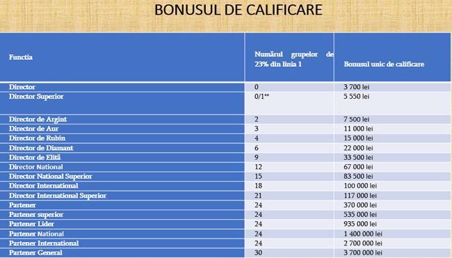 Bonusuri calificare directori Faberlic